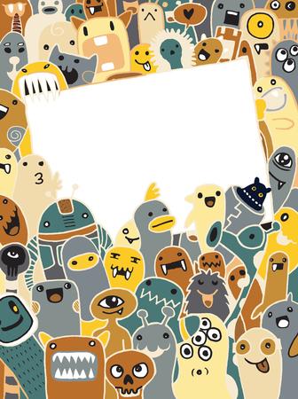 Hand Getrokken Monsters en leuke vreemdeling vriendelijke cartoon, doodle stijl .Vector Collection Stock Illustratie