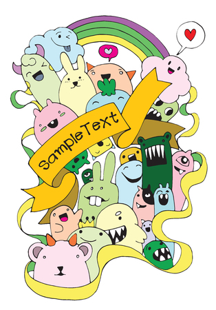 teammate: Vector illustration of Monsters and cute alien friendly, cool, cute hand-drawn monsters collection Vector EPS 10 illustration Illustration
