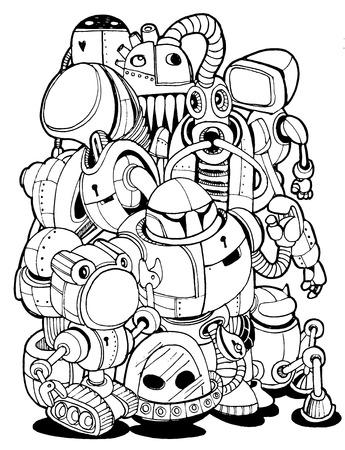 Hand Drawn Vector Illustration of Doodle robot element, illustrator line tools drawing,Flat Design  イラスト・ベクター素材