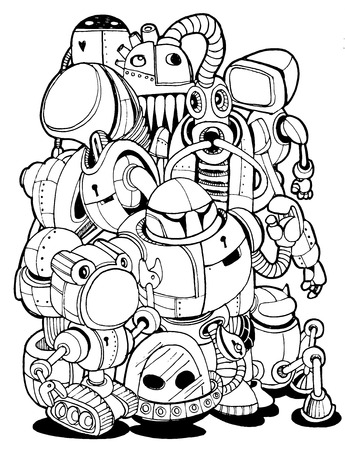 Hand Drawn Vector Illustration of Doodle robot element, illustrator line tools drawing,Flat Design Vettoriali