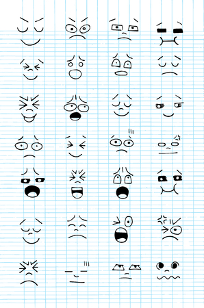 funny faces: Set of hand drawn funny faces. Happy faces,for comics design.Vector illustration