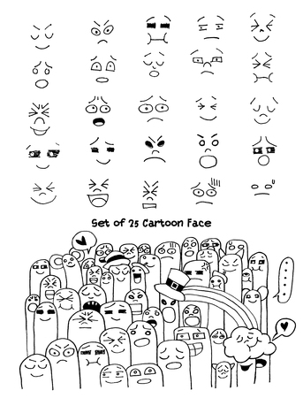 Set of hand drawn funny faces. Happy faces,for comics design.Vector illustration