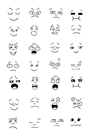 tease: Set of hand drawn funny faces. Happy faces,for comics design.Vector illustration