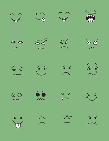 sneer: Set of hand drawn funny faces. Happy faces,for comics design.Vector illustration