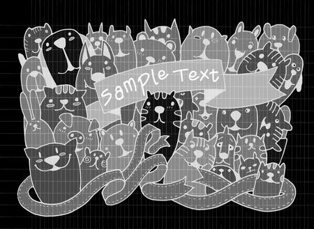 buddies: Hand drawn doodle Funny Pet Set, Vector illustration. Illustration