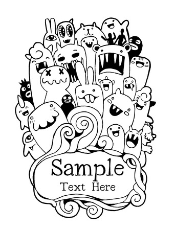 teammate: Vector illustration of Monsters and cute alien friendly, cool, cute hand-drawn monsters collection