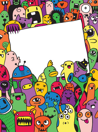 Hand Drawn Monsters and cute alien friendly cartoon,doodle Style .Vector Collection