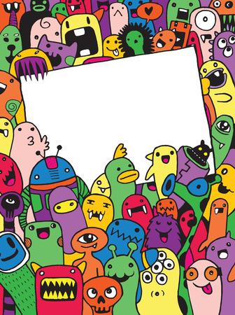 Hand Getrokken Monsters en leuke vreemdeling vriendelijke cartoon, doodle stijl .Vector Collection Stockfoto