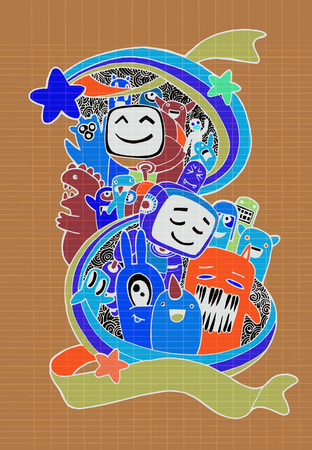 teammate: Hand drawn Aliens , Monsters and robot friendly cartoon,doodle Style .Vector Collection