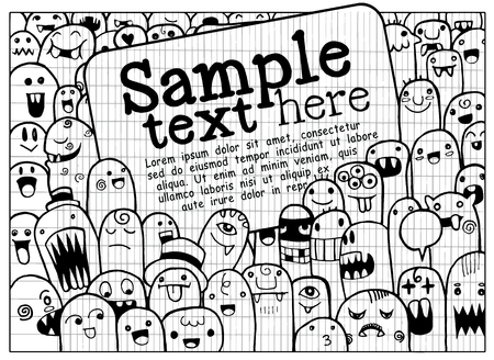 Hand Drawn Monsters and cute alien friendly cartoon,doodle Style with Speech Bubbles .Vector Collection 일러스트