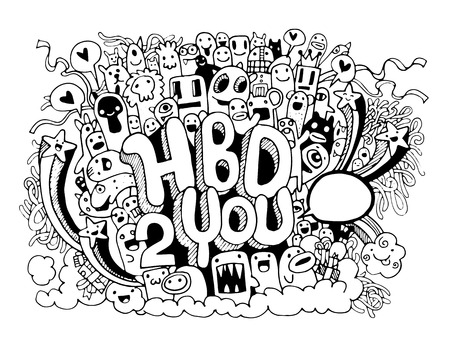poster art: Birthday party hand drawn doodles elements background. Vector cartoon illustration