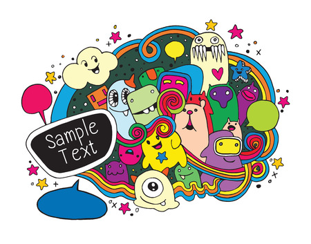 Hand Drawn Monsters and cute alien friendly cartoon,doodle Style with Speech Bubbles .Vector Collection  イラスト・ベクター素材