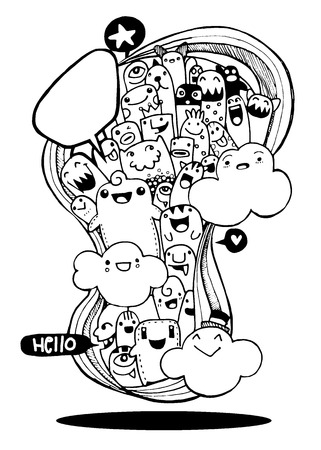 cute doodle: Vector illustration of Monsters and alien cute doodle set,drawing style Pen on Paper .Vector illustration.