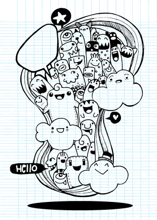 teammate: Vector illustration of Monsters and alien cute doodle set,drawing style Pen on Paper .Vector illustration.