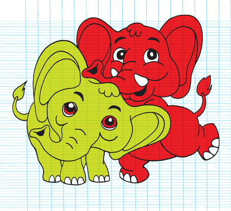 funny pictures: Hand Drawn Illustration of Cute cartoon elephant,Flat Design Vector illustration. Illustration