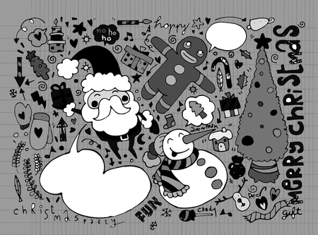 christmas characters: Hand drawn Christmas characters and elements, Vector illustration of Doodle Illustration