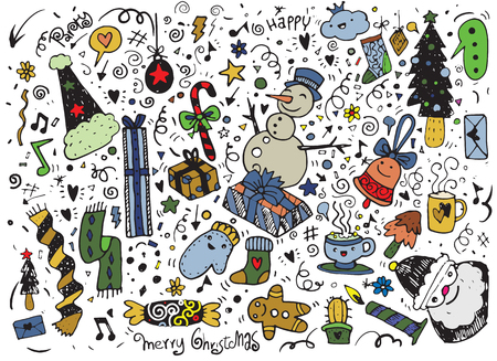 Hand drawn Christmas characters and elements, Vector illustration of Doodle Çizim