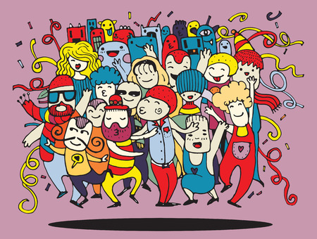 personas: Dibujo a mano Ilustración del vector del Doodle de la gente divertida del partido, diseño plano