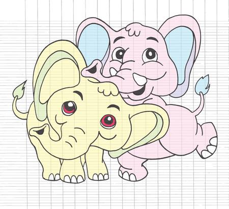 mating: Hand Drawn Illustration of Cute cartoon elephant,Flat Design Vector illustration. Illustration
