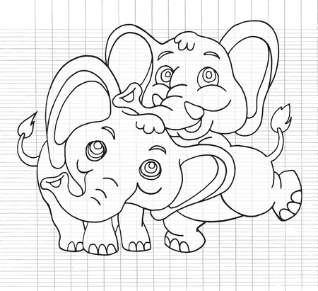 mating: Hand Drawn Illustration of Cute cartoon elephant,Flat Design Vector illustration. Illustration