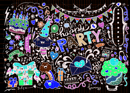buddies: Hand Drawn of Doodle party background . Vector Illustration