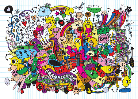 party cartoon: Hand Drawn of Doodle party background . Vector Illustration