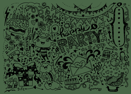 teammate: Hand Drawn of Doodle party background . Vector Illustration
