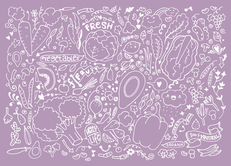 Vegetables and fruits Set hand drawn doodle. Vector illustration Illustration