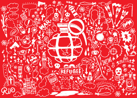 demolish: Hand drawing Doodle War collection,Flat Design Vector illustration. Illustration