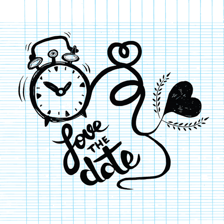 black heart: Vector cartoon clock with hearts. Valentines day card. love the date