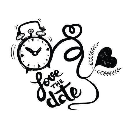Vector cartoon clock with hearts. Valentine's day card. love the date