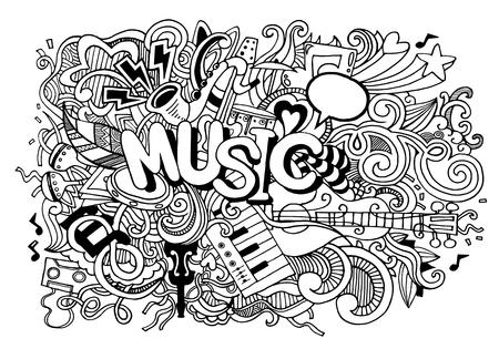 Abstracte muziek achtergrond, Collage met muzikale instruments.Hand tekenen Doodle, vector illustratie.