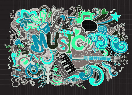 beat: Abstract Music Background ,Collage with musical instruments.Hand drawing Doodle,vector illustration. Illustration