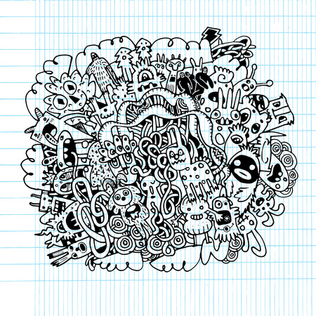teammate: Hipster Hand drawn Crazy doodle Monster ,drawing style.Vector illustration. Illustration