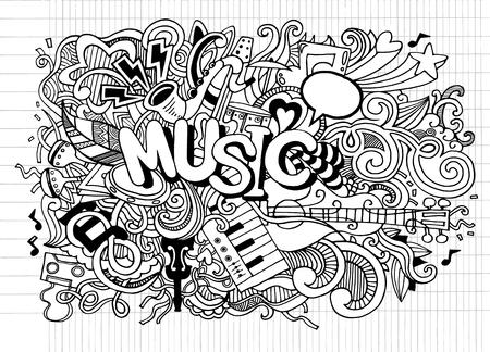 Abstrakcjonistyczny Muzyczny tło, kolaż z instrumentami muzycznymi Ręka rysunek Doodle, wektorowa ilustracja. Ilustracje wektorowe