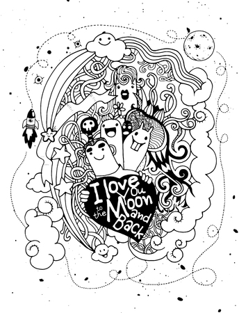 backhand: I love you to the moon and back.Hand Drawn Vector Illustration of love ,doodles elements sketch background