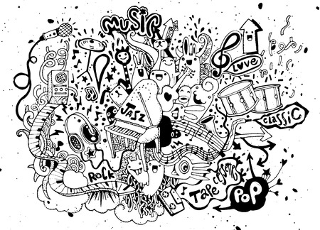 beat: Abstract Music Background ,Collage with musical instruments.Hand drawing Doodle,vector illustration. Stock Photo