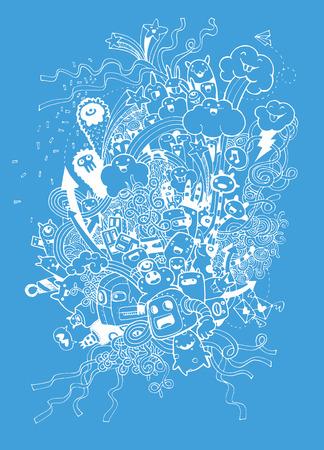 Fondo del partido del Doodle. Ilustración