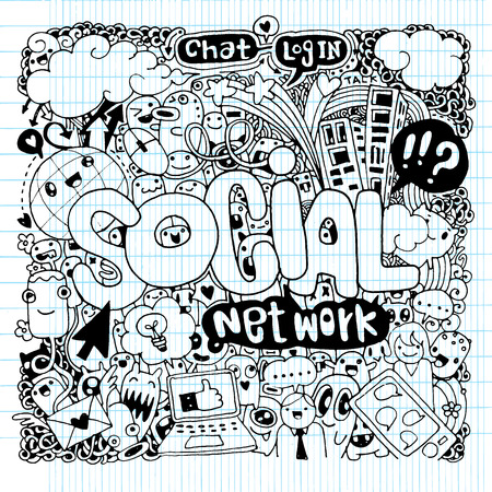 chat up: Social hand lettering and doodles elements background. Vector illustration