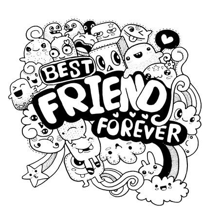 crowd happy people: hand drawn group of cute monster for you design style quick sketch ,best friend for ever vector