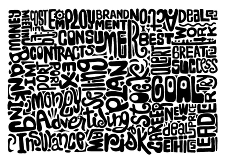Hand Getrokken Marketing word cloud concept. vector illustratie Stockfoto