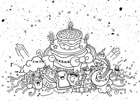 birthday cakes: Party Monsters and cute alien friendly, hand drawn monsters collection ,vector illustration