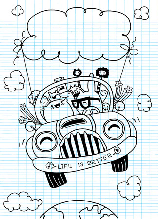 earth moving: Hand drawn Monsters and cute alien friendly, having fun .vector illustration Stock Photo
