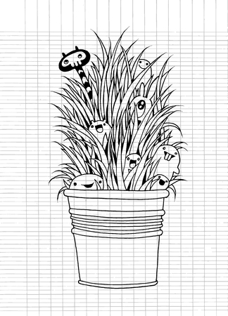 playmates: Illustration of cute monster playing Hide and Seek looking through the grass,vector