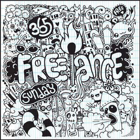 freelance: Hand Drawn of freelance life style.Vector Illustration