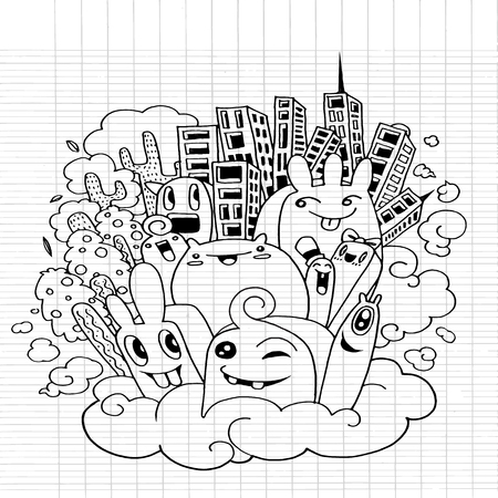 buddies: Cute doodle City,doodle drawing style.Vector illustration Stock Photo