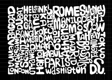 visit us: Hand Drawn of WORLD word cloud concept made with words cities names,Vector illustration Illustration