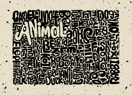roster: Hand Drawn of Animals word cloud concept made with words animal names, Vector illustration