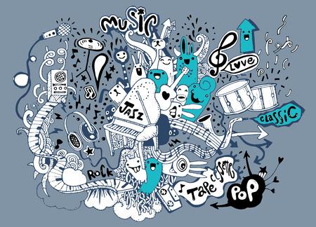 Abstracte muziek achtergrond, Collage met muzikale instruments.Hand tekenen Doodle, vector illustratie. Stock Illustratie