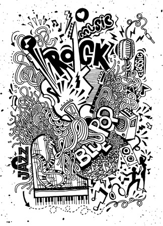 abstract music: Abstract Music Background ,Collage with musical instruments.Hand drawing Doodle,vector illustration. Illustration